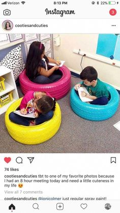Great idea could even have the kids paint the tires Preschool Room Layout, Preschool Rooms, Classroom Layout, Classroom Setting, Classroom Design, Kindergarten Classroom, Classroom Decor, Classroom Seats, Classroom Furniture