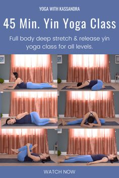 Stretch and release tension with this 45 minute yin yoga sequence for beginners and all levels. This yin yoga class for flexibility was designed to improve flexibility and relieve stress and anxiety. Yin yoga poses are held for 3-5 minutes and are perfect for deep stretching and tension release. Click through for this free online yoga class on our yoga YouTube channel! Yoga for flexibility   yoga for stretching   yin yoga routine for flexibility   at home yoga   learn yoga at home