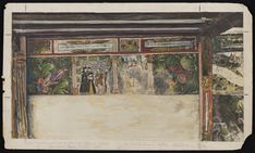 Francis Reader's sketch of the wall paintings, at the Victoria and Albert Museum