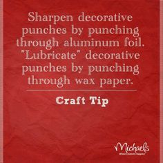 Craft Tip: Wipe scissors with baby wipe when cutting Duck Tape for easier cutting Punch Art, Paper Punch, Duct Tape Projects, Duck Tape Crafts, Diy Projects, Sewing Projects, Cricut, Craft Punches, Types Of Craft