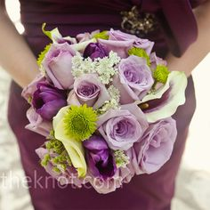 Pink roses, purple tulips and Queen Anne's lace made up the girls' textured bouquets.