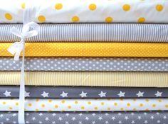 Stoffpakete - Stoffset Gelb-Grau 8 x 0,5m Vichy Punkte Sterne - ein Designerstück von NaniluDIY bei DaWanda