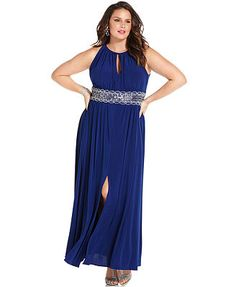 R&M Richards Plus Size Sleeveless Beaded Gown at macys