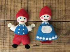 2 Vintage Handmade Felt Boy & Girl Christmas Ornaments #Christmas