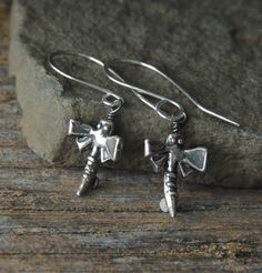 Sterling Silver Earrings, Dragonfly Earrings, Silver Dragonflies, Artisan Jewelry, Rustic Handcrafted, Urban Chic, Whimsical Earrings by DianesAddiction on Etsy