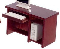 Dollhouse Walnut Computer Desk Superior Dollhouse Miniatures