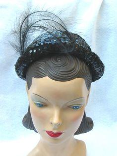1940's Vintage Black Sequin Evening Hat by MyVintageHatShop, $25.00