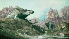 Mark Witton | #FossilFriday Restoration of the theropod #dinosaur Megalosaurus, showing the most up to date info on its life appearance. #paleoart | Nice retro piece from Mark!