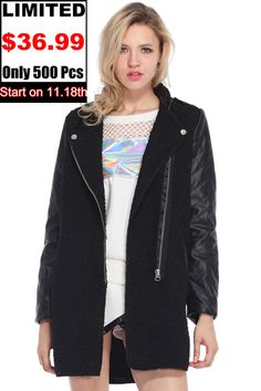 ROMWE   Zippered Black Panel Woolen Coat, The Latest Street Fashion