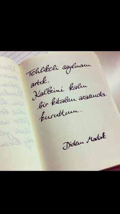 Tehlikeli sayılmam artık. Kalbimi kalın bir kitabın arasında kuruttum.   - Didem Madak  #sözler #anlamlısözler #güzelsözler #manalısözler #özlüsözler #alıntı #alıntılar #alıntıdır #alıntısözler