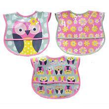 Owl 3-Pack PEVA Bibs - Pink/Grey