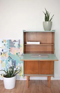 Upcycled Furniture, Home Furniture, Home Office Decor, Diy Home Decor, Diy Wooden Crate, Secretary Desks, Colorful Furniture, Home Staging, Living Spaces