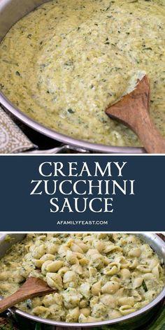 Make this delicious Creamy Zucchini Sauce with fresh garden zucchini and herbs. Make this delicious Creamy Zucchini Sauce with fresh garden zucchini and herbs. Parmesan Zucchini Chips, Zuchinni Recipes, Veggie Recipes, Vegetarian Recipes, Dinner Recipes, Cooking Recipes, Healthy Recipes, Amish Recipes, Dutch Recipes