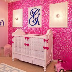 White & Hot Pink Nursery - gorgeous!!