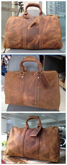Men's Leather Holdall Duffel Weekender Travel Bag Leather Overnight Bag