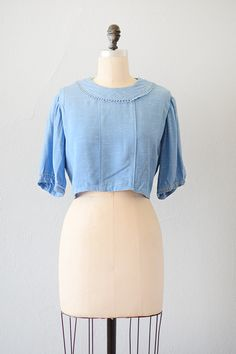 vintage 1920s blue cotton snap waist blouse