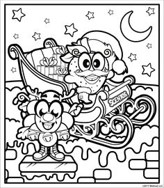 Print and color in this fun Christmas scene! These are two of Santa's favorite little helpers.