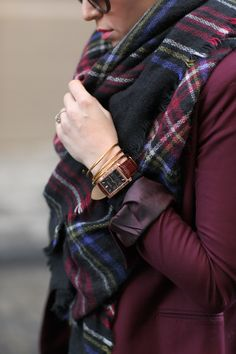 Burgundy and plaid...have this scarf and it is the coziest thing I have ever purchased.