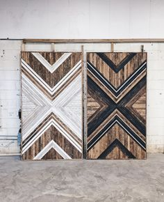The pattern is a nice update on the barn wood sliding doors. The pattern is a nice update on the barn wood sliding doors. Reclaimed Wood Wall Art, Wooden Wall Art, Wooden Walls, Barn Wood, Wood Art, Wood Wall Art Decor, Diy Wood, Diy Interior, Interior Barn Doors