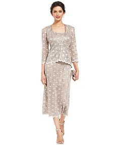 I LOVE THIS DRESS FOR MARY LOU!!! R&M Richards Sleeveless Sequined Lace Dress and Jacket - Dresses - Women - Macy's