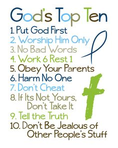 Christian Wall Art. Ten Commandments. Bible by LittleLifeDesigns // Love how this is put...easy for kids to relate to.