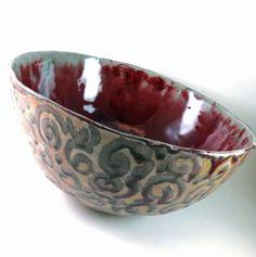 Large Pottery Bowl  Punch Bowl  Handmade Red by Botanic2Ceramic, $150.00