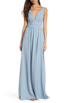 A chiffon gown notches up the allure with a plunging neckline, while ruching at the bodice and waist add subtle definition to top the flowing full-length skirt. Style Name:Lulus V-Neck Chiffon A-Line Gown. Style Number: Available in stores. Dusty Blue Bridesmaid Dresses, Blue Wedding Dresses, Wedding Bridesmaids, Wedding Attire, Chiffon Gown, Ruched Dress, Green Evening Gowns, Full Length Skirts, Embellished Gown