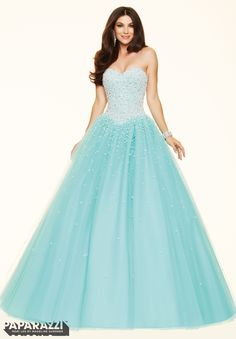 Prom dresses by Paparazzi Prom Pearl Beading on a Tulle Ball Gown Corset Back Closure. Colors Available: Light Purple, Blush, Aqua