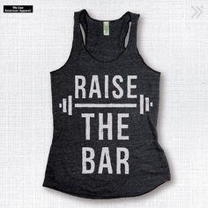 RAISE THE BAR Charcoal/White Eco-Tank, Gym Tank, Gym Top, Gym Shirt, Workout Tank, Workout Top by everfitte on Etsy https://www.etsy.com/listing/236049111/raise-the-bar-charcoalwhite-eco-tank-gym