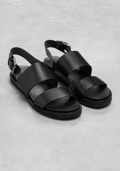 & Other Stories image 2 of Raw Edge Leather Sandal in Black