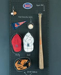 Another great idea from Family Fun magazine! Painted pegboard for sports gear makes it a decor hit instead of a mess!