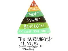 Toronto illustrator Sarah Lazarovic& Buyerarchy of Needs urges people to consider other options before hitting the mall.Sarah Lazarovic does a no-shopping diet every few years. The designer and … Cool Things To Make, Stuff To Do, Diy Stuff, Consumerism, Green Building, Primark, Fast Fashion, Consciousness, The Borrowers