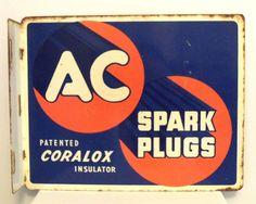 Old Vintage 1950s Sign AC Spark Plugs GM Chevrolet Gas Station 2 Sided Flange | eBay