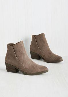 Workweek Sleek Bootie by Madden Girl - Solid, Work, Minimal, Fall, Better, Chunky heel, Ankle, Brown, Neutral, Mid, Tan