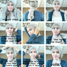 Tutorial by zahratul jannah Tutorial Hijab Pesta, Hijab Style Tutorial, Iranian Women Fashion, Muslim Fashion, Hijab Fashion, Beau Hijab, Turban Tutorial, Simple Hijab, Modele Hijab