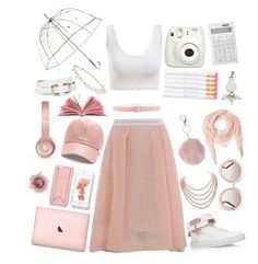 """""""Blushing Innocence #whitesneakers"""" by giribubbles ❤ liked on Polyvore featuring BUSCEMI, SJYP, Karl Lagerfeld, DaVonna, Muji, Dorothy Perkins, Accessorize, Orciani, Beats by Dr. Dre and Faliero Sarti"""