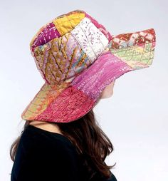 Recycled Sarong Soft Cotton PATCHWORK FLOPPY SUN HAT Boho Hippie Eco Clothing