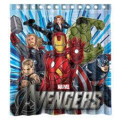 Custom Marvel The Avengers Waterproof Bathroom Shower Curtain Polyester Fabric Size 66 X 72