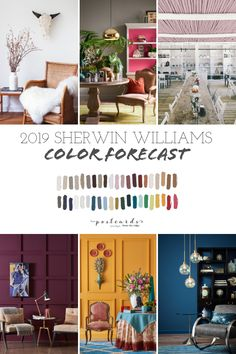 Such gorgeous paint colors in this color forecast from Sherwin Williams! #paintcolors #colortrends #colorforecast #interiors