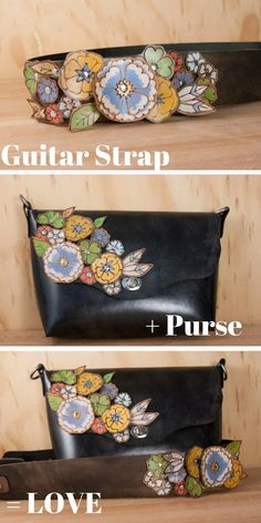 Beautiful handmade leather crossbody purse by Moxie & Oliver!  Hand cut leather flowers, and an extra wide guitar strap purse strap for added pattern and style.  Love this piece!