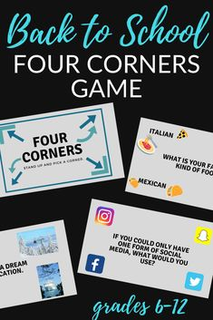 Are you looking for a fun activity for the first day of school? This Four Corners game is a fun, engaging activity that gets students out of their seats and helps you get to know them. The PowerPoint contains 22 slides with questions relevant to teens. Students will have fun getting up out of their seats learning about one another, and there's no prep for you! #backtoschoolgame #backtoschool #fourcorners #firstdayofschool