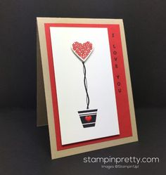 Vertical Greetings stamp and Sweet & Sassy Framelits Dies combine for this love card created by Mary Fish, Stampin' Up! Demonstrator.  1000+ StampinUp & SUO card ideas.  Read more http://stampinpretty.com/2016/06/sending-love-vertical-greetings.html