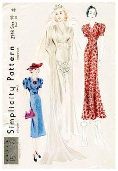30s 1930s vintage gown sewing pattern door LadyMarloweStudios