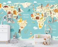 (1) 3D Blue Cartoon Animal World Map Wall Mural Wallpaper 27 – Jessartdecoration Kids World Map, World Map Wall, Map Wallpaper, Wallpaper Ideas, Bernini Sculpture, Maps For Kids, Sea Colour, 3d Cartoon