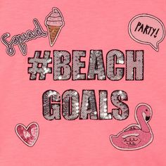 From the bluezoo range, this pink t-shirt is the perfect statement piece for a casual outfit. It features sequinned embellishment in the slogan 'Beach Goals' with embroidered badge detailing and a fringed hemline.