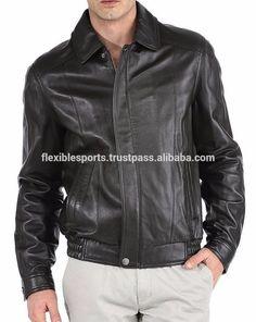 100% REAL Leather Jacket BLACK Slim-Fit Genuine COW HIDE Biker-Motorcycle