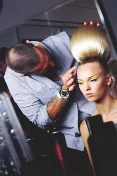 Futuristic hair backstage at The Blonds Spring 2014 #NYFW