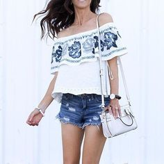 Off-the-shoulder tops are a must-have for warm weather.