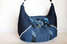 """Джинсовая сумка """"Синие лепестки. Бохо сумка – купить в интернет-магазине на Ярмарке Мастеров с доставкой"""