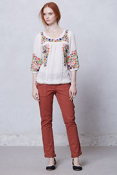 embroidered blouse Anthro